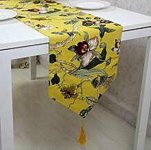 LDONGPENG LD&P Baumwolltisch Fahne Bettfahne Luxus Couchtisch, TV Bücherregal Tischläufer mit Quaste,A,33*195cm