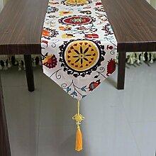 LDONGPENG LD&P Baumwolltroddel Mittelmeer Wind Tischläufer Schlafzimmer, Hotel Bett Läufer Couchtisch, Tisch TV Schrank Tischplatte Dekoration,A,30*220cm