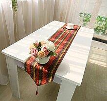 LDONGPENG LD&P Flag Baumwolle Bett National Wind Runner Runner kreative Tischläufer mit Quaste Eine Vielzahl von optional,C,32*200cm
