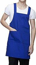 LDONGPENG LD&P Für Männer und Frauen Schürzen, Bettwäsche Anti-Öl-Verschmutzung, zwei Taschen, Grillkochküchenschürze,blue,78cm*60cm