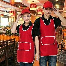 LDONGPENG LD&P Geeignet für Männer und Frauen Schultern Schürze, Anti-Öl-Verschmutzung, extrem widerstandsfähig, Tasche, Familienküche,red,one size