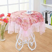 LDONGPENG LD&P Lace Staubdicht Tischdecke für Küche Dinning Pub Tabletop Dekoration Multi-Size-Mehrzweck-Handtuch,Pink,120*120cm