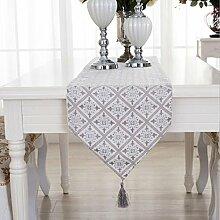LDONGPENG LD&P Rhombus Geometrie Tischläufer Couchtisch Decktuch, Betttuch Hochzeit, Bankett Schreibtisch Dekoration,Beige,33*180cm