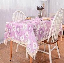 LDONGPENG LD&P Verschiedene Größen Neue Spitze Staubdichte Couchtisch Dekorative Tischdecken für Abendessen, Sommer und Picknick Tischdecken,Pink,90*140cm