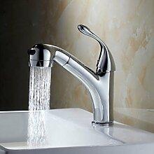 LDONGSH Ausklappbare Kupfer Kälte Waschbecken Lebensmittel-Becken Waschbecken Küche Eine Strecke Loch Tap TAP