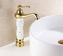 LDONGSH Gold Kupfer Kälte Loch Im Europäischen Stil Im Amerikanischen Stil Satiniert Waschbecken Galvanik Wasserhähne