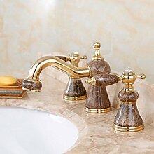 LDONGSH Kupfer Drei-Loch Heiß Und Kalt Marmorbad Gold Im Europäischen Stil Im Amerikanischen Stil Satiniert Waschbecken Wasserhahn,D