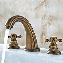 LDONGSH Kupfer Drei Löcher Kälte Mischen Von Wasser Im Europäischen Stil Im Amerikanischen Stil Satiniert Waschbecken Galvanik Retro Tipp
