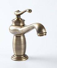LDONGSH Kupfer Im Europäischen Stil Im Amerikanischen Stil Satiniert Waschbecken Jahrgang Heiß Und Kalt Einlochmontage Waschbecken Armaturen