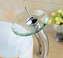 LDONGSH Kupfer Kälte Glas Wasserfälle Im Europäischen Stil Im Amerikanischen Stil Satiniert Waschbecken Armaturen