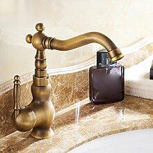 LDONGSH Retro Kälte Einlochmontage Kupfer Drehbar Im Europäischen Stil Im Amerikanischen Stil Satiniert Waschbecken Bubbler Tippen