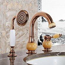 LDONGSH Retro Kupfer Duschen Drei-Loch Im Europäischen Stil Im Amerikanischen Stil Satiniert Waschbecken Bubbler Armaturen