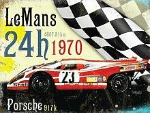 Le Herren 24h 1970 gewinner, Porsche in rot Deutsche rennen pkw, für haus, heim, petrol kopf, schlafzimmer, pub oder bar. Metall/Stahl Wandschild - 20 x 30 cm
