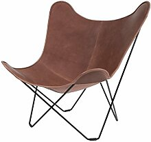 Leather Mariposa Butterfly Chair Sessel, Hellbraun