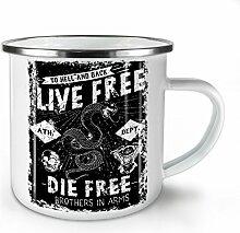 Leben Frei Schlange Slogan Weiß Emaille-Becher 10
