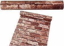 Lebensechte selbstklebende Tapete moderne Wandaufkleber Mustertapete für wohnzimmer schlafzimmer küche od. Jugendzimmer Kinderzimmer (45 * 1000 CM) / kaffeebraun Ziegelsteinmuster
