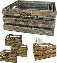 LebenStil Design 3 Weinkisten Holzkisten Holzkiste Regal Obstkiste Blumenkübel Dekoration Box alt grau braun gewischt Set 3 Kisten