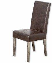 LEBENSwohnART Echtleder-Stuhl Classic Dark-Brown