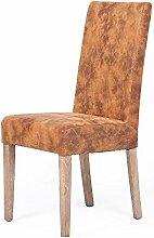 LEBENSwohnART Echtleder-Stuhl Classic Middle-Brown