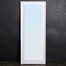 LEBENSwohnART Spiegel Leandra 150x60cm Weiß/Silber WANDSPIEGEL Design Pompös & Barock