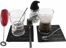 LEBRUN 9540001009 Cappuccino-Set, Schiefer/Glas,