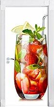 Leckerer Erdbeercocktail mit Zitrone und Minze als Türtapete, Format: 200x90cm, Türbild, Türaufkleber, Tür Deko, Türsticker