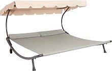 Leco Doppelliege, Stahl/Textil, 200x200 cm