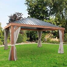 Leco Luxus-Hardtoppavillon in Holzoptik für