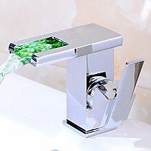 LED 3 Farbewechsel Wasserhahn Messing Chrom Wasserfall Waschtischarmatur Armatur Waschbeckenarmatur Einhebel Mischbatterie Badarmaturen für Bad BadezimmerWaschraum Hotel Waschbecken mit Breit Auslauf