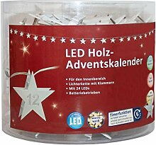 LED Adventskalender als Lichterkette mit Klammern