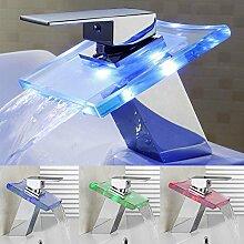 LED Armatur Wasserhahn Glas Wasserhahn Waschtischarmatur mit RGB Farbewechsel Wasserfall Armatur Glas
