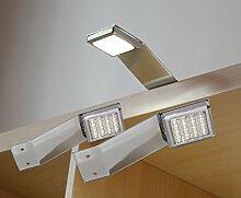 LED Aufbauleuchte 2-er Komplettset Chrom / Art. 2250-2 / warm weiß Schrankleuchte Kleiderschrankleuchte Möbelbeleuchtung Aufbauleuchten Vitrinenleuchte Spiegelleuchte Set mit Netzteil
