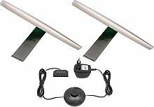 LED Aufbauleuchte 2-er Komplettset / Chrom / Art. 2400-2 / Schrankleuchte / Lichtfarbe neutral weiß / mit Netzteil, Kabeln und Steckverbindungen