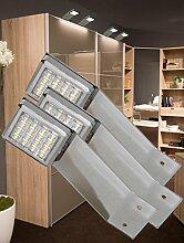 LED Aufbauleuchte 3-er Komplettset Chrom / Art. 2251-3 / kalt weiß Schrankleuchte Kleiderschrankleuchte Möbelbeleuchtung Aufbauleuchten Vitrinenleuchte Spiegelleuchte Set mit Netzteil
