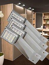 LED Aufbauleuchte 4-er Komplettset Chrom / Art. 2250-4 / warm weiß Schrankleuchte Kleiderschrankleuchte Möbelbeleuchtung Aufbauleuchten Vitrinenleuchte Spiegelleuchte Set mit Netzteil
