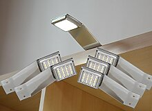 LED Aufbauleuchte 5-er Komplettset Chrom / Art. 2251-5 / kalt weiß Schrankleuchte Kleiderschrankleuchte Möbelbeleuchtung Aufbauleuchten Vitrinenleuchte Spiegelleuchte Set mit Netzteil