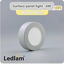 LED Aufbauleuchte 6 Watt rund 12cm - warm weiß -