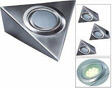 LED Aufbauleuchte, Unterbauleuchte Dreieck, Küche, nickelmatt 3x2 Wa