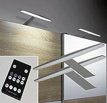 LED Aufbauleuchten 2-er Set Dimmbar mit Fernbedienung Alu warm weiß / Mod. 2405-2/4154möb / Schrankleuchten Schrankleuchte Kleiderschrankleuchte Möbelbeleuchtung Aufbauleuchte Vitrinenleuchte Spiegelleuchte Set mit Netzteil und Controller
