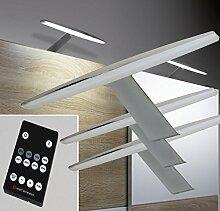 LED Aufbauleuchten 3-er Set Dimmbar mit Fernbedienung warm weiß / Mod. 2400-3/4154möb / Chrom Schrankleuchten Schrankleuchte Kleiderschrankleuchte Möbelbeleuchtung Aufbauleuchte Vitrinenleuchte Spiegelleuchte Set mit Netzteil und Controller