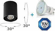 LED Aufbaustrahler Aufbauleuchte ARTE 4W Kaltweiß Aufputz Deckenlampe Deckenleuchte Strahler Downlight (ARTE RUND SCHWARZ 4W KW)