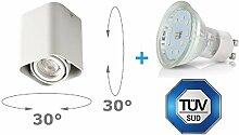 LED Aufbaustrahler Aufbauleuchte ARTE 4W Kaltweiß Aufputz Deckenlampe Deckenleuchte Strahler Downlight (ARTE ECKIG 4W KW)