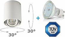 LED Aufbaustrahler Aufbauleuchte ARTE 4W Warmweiß Aufputz Deckenlampe Deckenleuchte Strahler Downlight (ARTE RUND 4W WW)