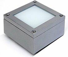 LED Aufbaustrahler Außenleuchte Pancho eckig silber IP54 Aluminium rostfrei