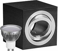 LED Aufbaustrahler Set CUBE schwarz mit LED GU10