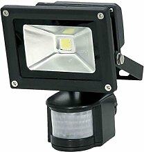 LED-Außenleuchte, Bewegungssensor, 10W, 800lm, Lichttemperatur 6000K, AC 230V, schwarz