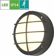 LED Aussenleuchte mit Bewegungsmelder, Schwarz