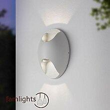 LED Außenwandleuchte aus Aluminium Weiß-Matt,