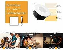 LED Bad Einbauleuchte flach IP65 weiss-matt