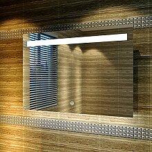 LED Badezimmerspiegel mit energiesparender LED-Beleuchtung kaltweiß IP44 [Energieklasse A+] 100x70cm beschlagfrei